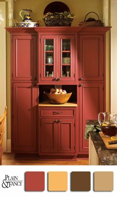 Love this red hutch. I like the color palette except for the yellow.                                                                                                                                                     More