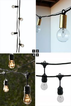 1. Glodlampsslinga, Granit / 449 kr  2. String Lights, onefortythree / $125 (coming soon)  3. Vintage Metro String Lights, Brookstone / $94.99  4. Vintage Light String, Restoration Hardware / $152 (on sale)