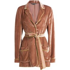 Alberta Ferretti Velvet Blazer ($1,109) ❤ liked on Polyvore featuring outerwear, jackets, blazers, rose, brown velvet blazer, brown velvet jacket, collar jacket, velvet blazer and brown jacket