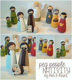 Peg People Nativity- make! Nativity Crafts, Christmas Nativity, Christmas Wood, Christmas Projects, Holiday Crafts, Nativity Sets, Xmas, Wood Peg Dolls, Clothespin Dolls
