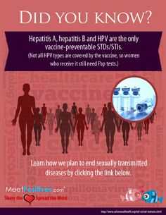 Did you know?  Hepatitis A, Hepatitis B and HPV are the only vaccine-preventable STDs/STIs.  (Not all HPV types are covered by the vaccine, so women who receive it still need Pap tests.)  Learn how we plan to end sexually transmitted diseases by clicking the link below.  http://www.meetpositives.com/