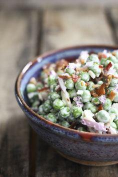 It doesn't get much easier or tastier than this cold salad of peas, crispy bacon, crunchy red onions, and creamy dressing. Serve with any roasted, grilled, or broiled meat or fish.