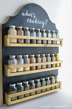 Use these amazing DIYs to Organize your home this year. I love this hanging spice rack! It is the perfect way to organize your spices in the kitchen. Get the plans for the easy to build wooden spice rack at . Hanging Spice Rack, Wooden Spice Rack, Kitchen Spice Racks, Diy Spice Rack, Spice Rack Plans, Build A Spice Rack, Pallet Spice Rack, Budget Organization, Kitchen Organization Pantry