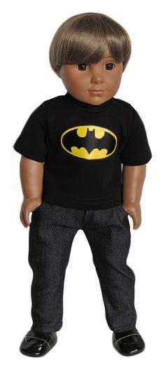 Silly Monkey - Black Batman Tee and Black Jeans (American Girl/Boy Doll), $16.99 (http://www.silly-monkey.com/products/black-batman-tee-and-black-jeans-american-girl-boy-doll.html)