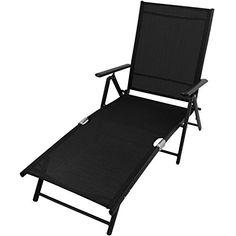 Elegante Relaxliege Gartenliege Sonnenliege Strandliege Campingliege  Freizeitliege Saunaliege Liegestuhl Liege Deckchair Klappbar 7 Positionen    Schwarz