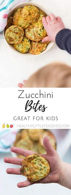Zucchini bites (courgette bites) are a high protein snack great for kids. Great for the lunch box. via Healthy Little Foodies Zucchini bites (courgette bites) are a high protein snack great for kids. Great for the lunch box. via Healthy Little Foodies High Protein Snacks, High Protein Low Carb, Diet Snacks, Protein Lunch, Protein Breakfast, Protein Box, High Protein Dinner, Baby Food Recipes, Healthy Recipes