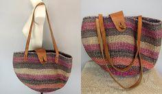 Vintage Ethnic Woven Raffia Jute and Leather Bag Market Basket Handbag Shoulder Tote Bag