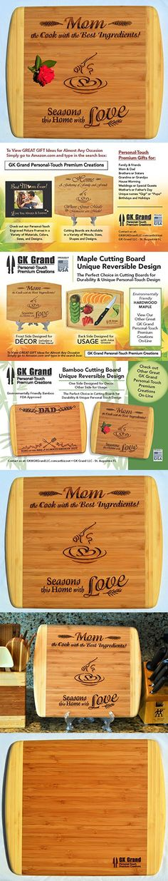 MOM / MOTHER GIFT ~ Engraved 2-Tone Bamboo Cutting Board w/ Free Stand ~ 2-Sided Design ~ Engraved Side Designed For Dcor ~ Reverse Side For Usage ~ Mom Birthday Mothers day Gift Christmas Gift