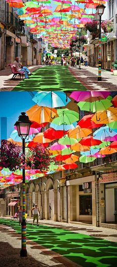 Umbrella street in Portugal. Very cool! #places #travel