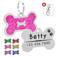Glitter Personalized Dog ID Tag Customized Bone Shape Name Tag Plate Pet Dog Accessories Collar Decoration Pink Red Pet Name Tags, Dog Id Tags, Pet Tags, Online Pet Supplies, Dog Supplies, Cheap Dog Food, Shape Names, Dog Branding, Buy Pets