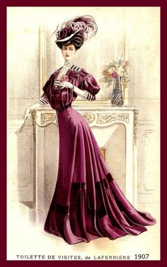 1907 – A magnificent deep purple gown shown on the front cover of La Mode Illustree, is described as Toilette de visites, by Laferrière