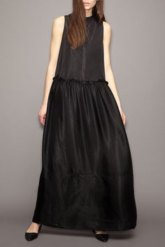 A classic black maxi-dress is a spring and summer must.