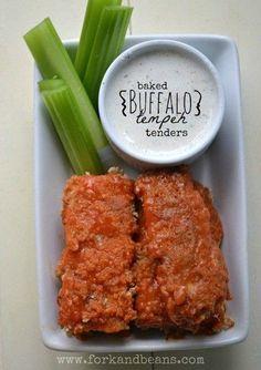 Baked Buffalo Tempeh Tenders Veggie Recipes, Whole Food Recipes, Vegetarian Recipes, Cooking Recipes, Healthy Recipes, Tempeh Recipes Vegan, Cooking Tips, Vegan Foods, Vegan Dishes