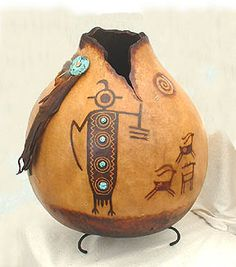 """Gourd art """"Rock Art from the Coso Range"""" by Kristy Dial"""