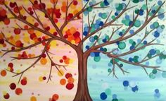 """With cool blues and fiery reds, """"Branches and Bubbles"""" is a great example of how opposites really do attract. Two full sized canvases meet in the middle to create one painting!"""