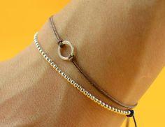 Sterling Silver beaded friendship bracelet by Zzaval on Etsy
