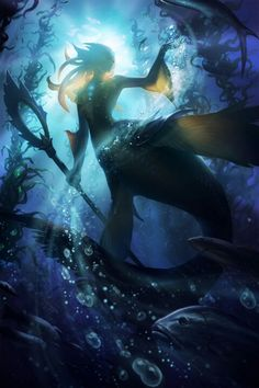 Mermaids, sunlit and seen from below. Nami, the Tidecaller by Artist Unknown