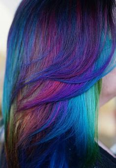 Blue mixed multi dyedhair inspiration #hairspiration @alix_maya