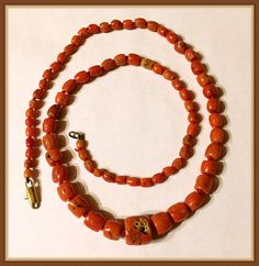 Vintage Mediterranean Natural Coral Necklace. Graduated Beads, strung and knotted on Orange/Red Thread. The Beads are undyed and more of an Orange