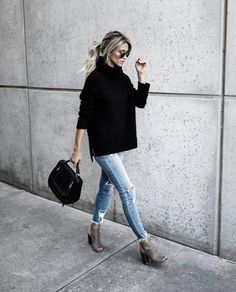black turtleneck tunic + ripped jeans + booties