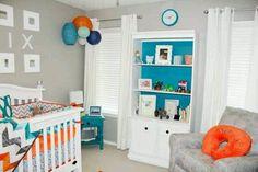 Baby boy nursery. Love the grey orange and aqua! Liapela.com