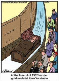 Winter Olympics Funeral Cartoon: This Close to Home cartoon puts Olympic flair into a funeral. It also offers a great lesson in personalization.