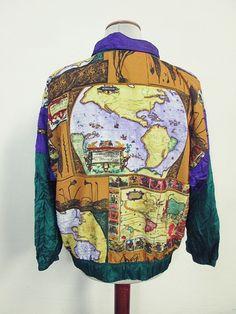Vintage USA Americas Map Pattern Indie Shellsuit Tracksuit Top Jacket Large