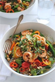 Thai Shrimp Salad on a bed of romaine. This looks like a wonderful, warm weather meal.