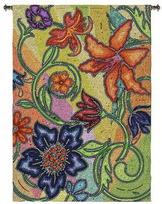 """Garden Party Mosaic 72"""" High Wall Hanging Tapestry -"""