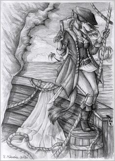 Gift art made back in 2012 for Kundlica from deviantart. Find me on: furaffinity- snowsnow11 deviantart- snowsnow11     #pirate #traditional #anthro