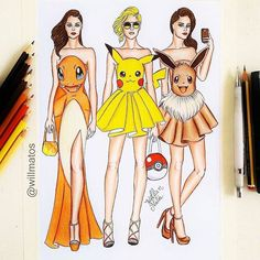 💥Which is your favorite dress!!??💥 Follow us! @trendyartworks Amazing artwork by @willmatos Tag your friends!👇