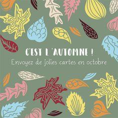 #carte #illustration #couleur #autumn #leaves #color #plantes #café #cards #snail #autumn #plants #leaves #mushroom #coffee Mood, Drawing, Graphic, Diy, Painting, Illustration, Poster, Home Decor, October