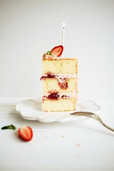 Strawberry Jam and Vanilla Birthday Cake