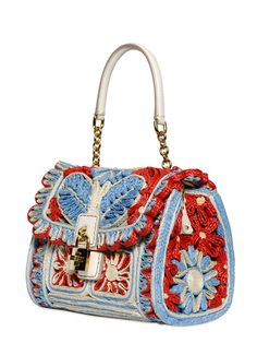 DOLCE & GABBANA - DOLCE BAG EMBROIDERED RAFFIA BAG - LUISAVIAROMA - LUXURY SHOPPING WORLDWIDE SHIPPING - FLORENCE