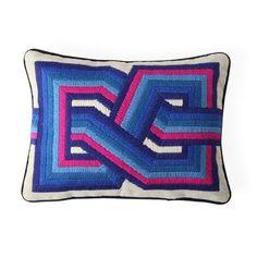 Pompidou Path Pillow | Jonathan Adler Jonathan Adler, Marimekko, Broderie Bargello, Bargello Needlepoint, Needlepoint Pillows, Duvet, Bedding, Design Bleu, Bed Pillows