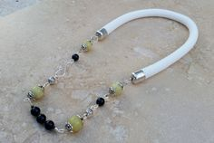 White Rope Necklace with Serpentine Beads by BabaJewelryandBeads on Etsy