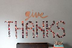 Give thanks simple wall art with photographs - perfect for your Thanksgiving artwork!