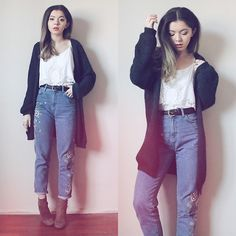 Get this look: http://lb.nu/look/8554969  More looks by Duygu Fidanoglu: http://lb.nu/animustyle  Items in this look:  Deichmann Boots, Thrifted Jeans, Thrifted Cardigan, H&M Belt, H&M Top   #casual #preppy #street