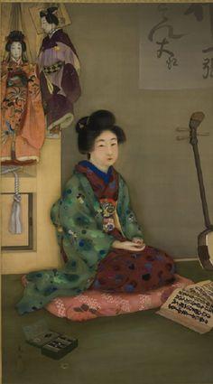Arai Kōu 荒井晃雨 (Ac. early 20th century)  The Jōruri Chanter at a Puppet Theater