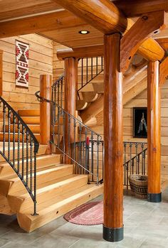 Rustic Log Home Stairs