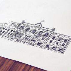 By Elin Östberg #karlstad  #house #drawing #sketch #architecture #stadpåväggen #skiss #målning #teckning #teckna #doodle #drawing #fineliner #art #artwork #sketchbook #stadsverk