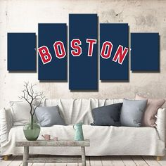 Boston Red Sox Blue Background Logo With Images Red Sox Wall