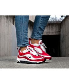 separation shoes 1977e 13ccb Nike Air Max 98 Trainers In Red and White Clearance
