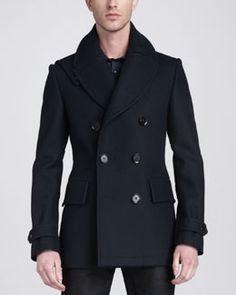 Shop for Brentwood Pea Coat, Navy by Belstaff at ShopStyle. Mens Navy Peacoat, Blazers, Black Pea Coats, Stylish Coat, Belstaff, Clothing Hacks, Military Fashion, Military Style, Coat Dress