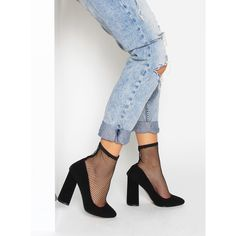 Abella Black Suede Fishnet Ankle Boots : Simmi Shoes
