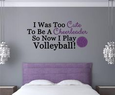 I Play Volleyball Sports Vinyl Decal Wall Stickers Words Letters Teen Room Decor