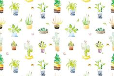 Tile Watercolor Cactus Pattern by Okpik on Creative Market