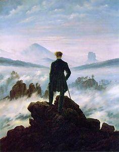 Der Wanderer über dem Nebelmeer van Friedrich