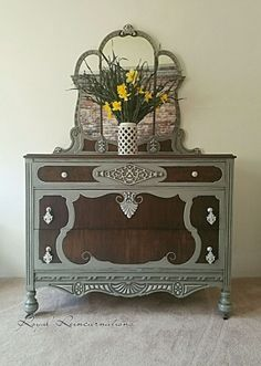 1930 Grey Dresser and Mirror