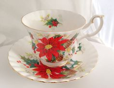 Royal Albert Yuletide Fine Bone China Teacup & Saucer Set - Christmas Red Poinsettia flowers - Green Gold - Holly Berry - xmas tea party